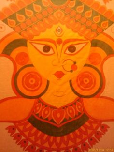 Durga Maa   hand painted on cotton by Sumitra Chanda.