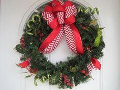 Christmas wreath evergreen wreath burlap by MelissaTalbott on Etsy, $49.00