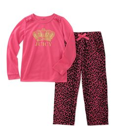Chili Peppers Girls Pink Gray Pug Unicorn in Training 4-Piece Pajama Set