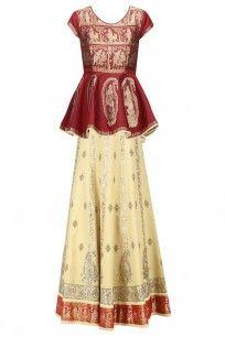 Red Baluchari Silk Peplum Top with Beige Gota Patti Lehenga Skirt