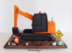 Digger cake - cake by Elaine Boyle. Digger Birthday Cake, Digger Cake, Cake Decorating Tips, Cookie Decorating, Cakes For Boys, Boy Cakes, Police Cakes, Gravity Defying Cake, Couture Cakes