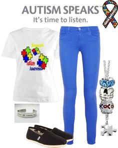 """""""Light it up Blue for Autism Awareness Month"""" by beachchickk101 on Polyvore"""