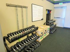 Free weights, boxes, jump ropes & bands.