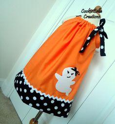 Spooky Halloween Ghost Pumpkin Pillowcase Dress 6m-4T