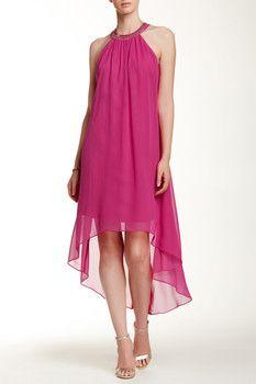 SL Fashions Open Back Hi-Lo Halter Dress