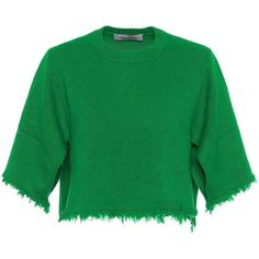 Valentino Cropped Cashmere Sweater (4.591.795 COP) ❤ liked on Polyvore featuring tops, sweaters, crop, green, valentino, cashmere top, cashmere sweater, green top, valentino sweater and wool cashmere sweater