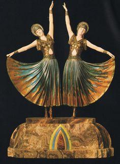 Demetre H. Chiparus sculpture__ matching pair of Art Deco female dancing figures