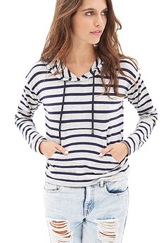 Hooded Striped Pullover | FOREVER21 - 2000067289