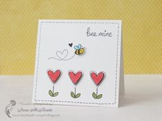 Lawn Fawn - Bee Mine _ sweet CAS Valentine card by Irene at Creative Scrapbooking Valentines Day Cards Handmade, Handmade Anniversary Cards, Cute Valentines Card, Wedding Anniversary Cards, Bee Cards, Creative Cards, Clear Stamps, Homemade Cards, Homemade Greeting Cards