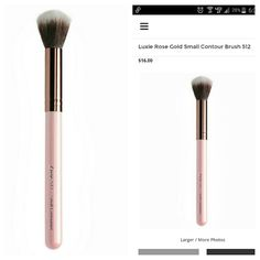 Luxie small contour brush 512 This pink and rose gold contour brush is a Luxie signature. Both vegan and cruelty-free, the synthetic bristles are coated with antibacterial solution to keep it fresh and clean. Perfectly dense for precise and streak-free makeup application, its soft touch is unparalleled. A pink handle and rose gold ferrule make this small makeup brush fill up the room. Luxie Makeup Brushes & Tools
