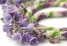 Blossoming lilac Bead Crochet Necklace Flower Garden  Polymer clay  Made to order Beadwork  Jewelry