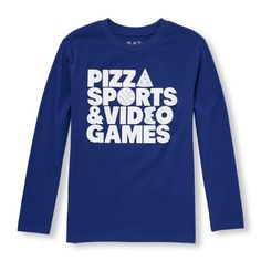 s Boys Long Sleeve 'Pizza Sports And Video Games' Graphic Tee - Blue T-Shirt - The Children's Place