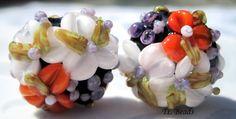 Lillian Chintz Garden Handmade Lampwork Floral Bead Set by TLBeads, $16.00