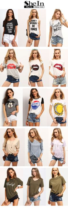 """What kind of tops do you prefer for cozy summer days? Lovely lip print t-shirt, tumblr funny tee, cool print graphics, or just plain casual tshirt? My answer is """" all of them """" !"""