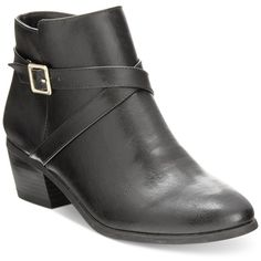 Karen Scott Flynne Block-Heel Booties, ($60) ❤ liked on Polyvore featuring shoes, boots, ankle booties, black, black block heel boots, block heel boots, black boots, block heel booties and karen scott boots