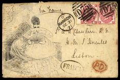 Hand Illustrated and Later Printed Envelopes: 1871 (Oct. 21st) pen and ink illustrated envelope with picture of a lady with a fan, sent from Harrow to Lisbon with 1867–80 3d. plate 6 FE-FF pair