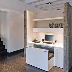 Home office nook with hidden bench seat! Office Nook, Home Office Space, Home Office Design, Home Office Decor, Interior Design Living Room, House Design, Home Decor, Small Office, Office Style