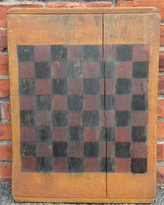 Early American Checkers Game Board Original Black and Red Paint on Wood | eBay