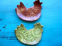 Set of 2 Rooster Chicken spoon rest trinket by ShoeHouseStudio, $10.00