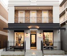 New exterior design shop interiors ideas Cafe Exterior, Exterior Stairs, House Paint Exterior, Building Exterior, Exterior House Colors, Building Design, Shop Front Design, House Design, Design Shop