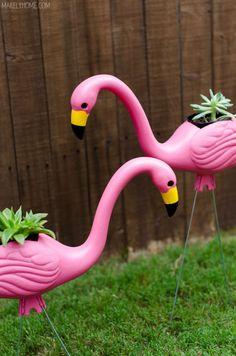 DIY Pink Flamingo Planters. Fun blog too