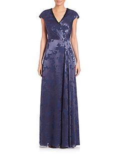 Kay Unger Beaded Neck Floral Gown - Navy-Black