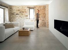 Ceramic large format decorative tiles: Industrial Iveroy by Floor Gres