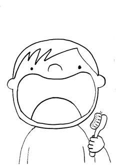 Diş fırçalama erkek çocuk boyama