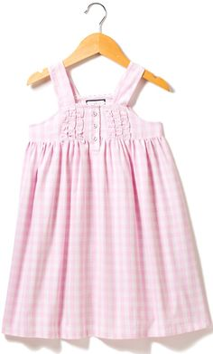 Pink gingham Charlotte girls nightgown, made of the finest quality cotton so your little girl will be tucked in love and off to dreamland.  www.petite-plume.com