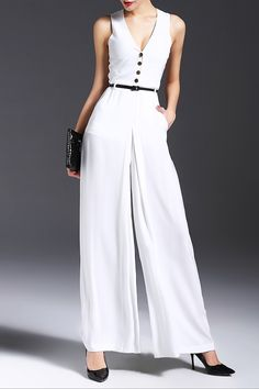 d185b54327c Nordicwinds White V-Neck Belted Loose-Fitting Jumpsuit