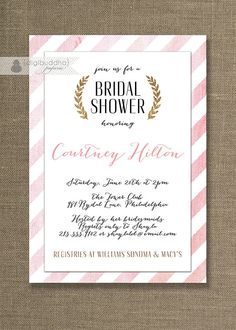 Pink & Gold Bridal Shower Invitation by digibuddhaPaperie on Etsy, $20.00