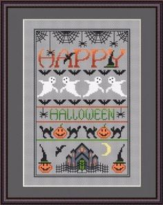 Happy Halloween is the title of this cross stitch pattern from Little Dove Designs that is stitched with DMC threads.