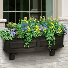 The Mayne Nantucket Window Box Collection features a bowed front, raised panel design, pronounced crown molding detail and built-in overflow drains. This window box features a double wall design creating Window Box Flowers, Flower Boxes, Front Yard Flowers, Flower Baskets, Plastic Planter Boxes, Window Planter Boxes, Metal Window Boxes, Winter Window Boxes, Garden Windows