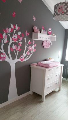 Muursticker boom fuchsia roze van Decosenz