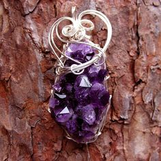Silver Wire Wrapped Amethyst Crystal Pendant | For more info… | Flickr
