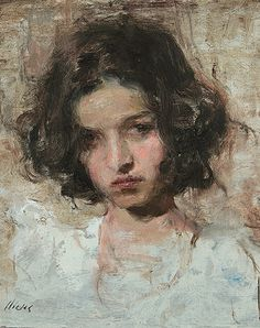 """I See You"" - Ron Hicks (b. 1965), oil on canvas {figurative #expressionist art beautiful female head woman face portrait cropped painting #loveart} ronhicks.com"