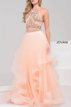 cd19f3e8086 Jovani 46404 long two-piece tulle prom dress features beaded halter  neckline bodice and embellished waistline