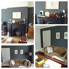 Grey paint is the perfect neutral colour and it really does come in 50 shades Farrow And Ball Living Room, Farrow And Ball Kitchen, Living Room Grey, Home Living Room, Living Room Decor, Shades Of Grey Paint, 50 Shades, Grey Front Doors, Mad About The House