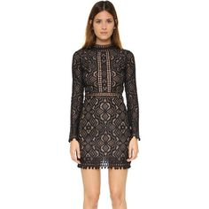 For Love & Lemons Florence Cocktail Dress ($305) ❤ liked on Polyvore featuring dresses, black, lace dress, black mini dress, long sleeve short dress, black cocktail dresses and long sleeve black cocktail dress