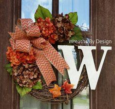 Monogram Hydrangea Wreath-Grapevine by WreathsbyDesign1 on Etsy