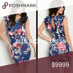 🆕NAVY FLORAL RUFFLE BODYCON DRESS Navy blue with pink florals bodycon dress.  Features ruffle details with keyhole in back.  Very very form-fitting. Runs Small, please size up!  ☞Sizes available: S M l ☞MODELING SIZE MEDIUM  🍃IG: @JMAYORGA91   ❌PRICE FIRM❌ Dresses