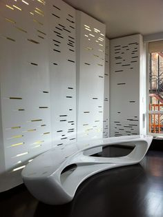 Perforated and backlit Corian wall panel system. Photo courtesy of Architecture Information/Paulo Flores by stacie Wall Design, House Design, Futuristic Interior, Parametric Design, 3d Wall Panels, Panel Systems, Wall Finishes, Wall Treatments, Office Interiors