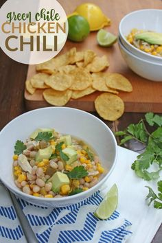 Green Chile Chicken Chili -- Try this simple (and low-calorie) chicken chili at your next football party or just for dinner!