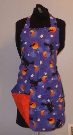 Witches, Moon & Stars on Blue Background, Orange Swirls Reverse                                                                                                                                                     More