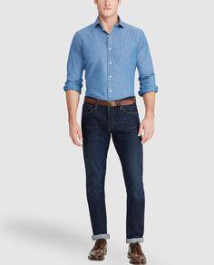 6d7e8c7aa3 Camisa vaquera de hombre Polo Ralph Lauren regular lisa azul · Polo Ralph  Lauren · Moda