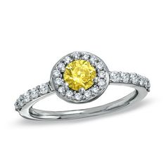 1 CT. T.W. Enhanced Fancy Yellow and White Diamond Pavé Framed Engagement Ring in 14K White Gold