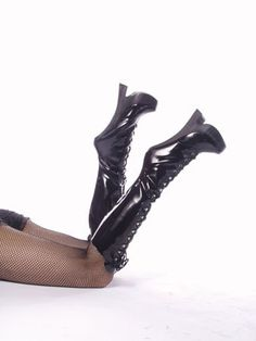 8 Inch Sexy High Heel Knee High Boot Platform Boots Fetish Exotic Black Patent Devious