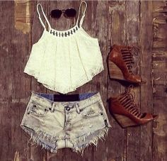 high waisted shorts white crop tank brown wedges rm