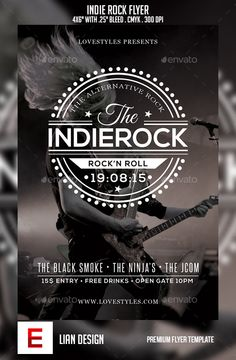 Indie Rock Flyer — Photoshop PSD #retro #band • Available here → https://graphicriver.net/item/indie-rock-flyer/10622950?ref=pxcr