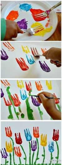 Painting tulips with a fork #art #kids